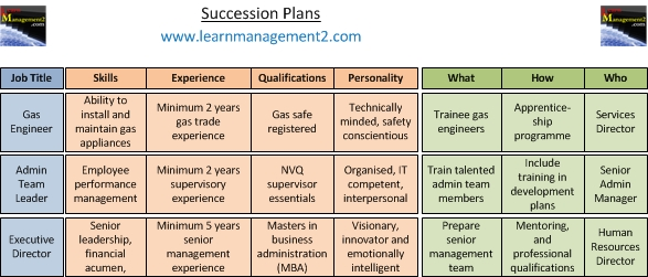 Example succession plan