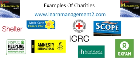 Photo showing example logos used by charities