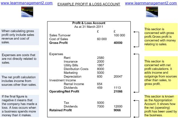 Diagram showing example Profit And Loss Account